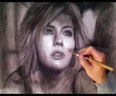 Elisha Cuthbert - Toned Paper Charcoal Portrait Drawing