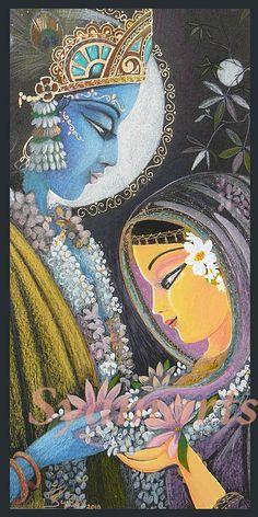 Divine couple original pencil drawing or prints note cards devotional art Syam Marquez Radha Krishna eternal love vedic