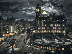 Postcard by Valentine - Princes Street and the North British Hotel - Moonlight series - Posted 1904 Hanoverian Kings, Visit Edinburgh, Scottish Independence, Last Battle, Dundee, Moonlight, Big Ben, Scotland, Old Things
