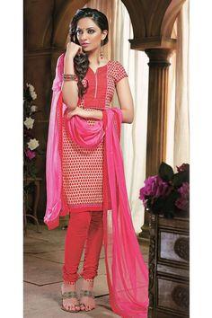 Printed Cotton Deep Pink Salwar Suit