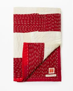 Check out the Red Graphic Quilt in Blankets, Throws, & Quilts, Fabrics & Linens from Thompson Street Studio for Boro, Textiles, Hand Quilting, Modern Quilting, Quilting Fabric, Do It Yourself Inspiration, Kantha Quilt, Scrapbook, Quilting Designs