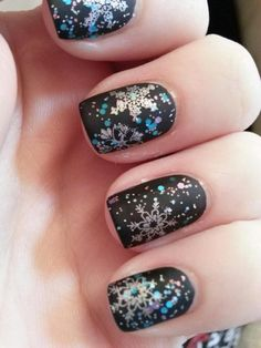 Glitter Snowflake on Black Nails