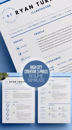 High Quality Creative Resume Template (3 Pages) #resumetemplates #cvresume #coverletter #portfoliotemplate