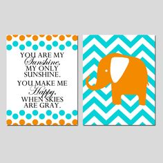 Set of Two 8x10 Prints - You Are My Sunshine Polka Dot and Chevron Elephant - Aqua, Green, Orange, Hot Pink, and More - Modern Nursery Art. $39.50, via Etsy.