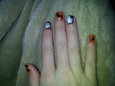 Halloween nails I  used a tooth pick for designs!