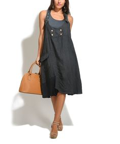 Take a look at this 100% LIN Dark Gray Violetta Linen Dress - Plus Too today!
