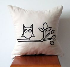 Modern Owl Throw Pillow Cover Hand Printed by AnyarwotDesigns, $20.00
