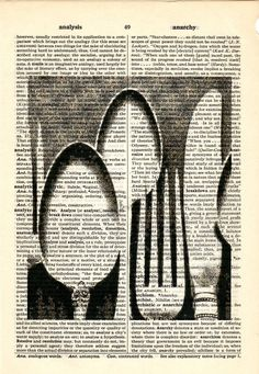 Silverware Vintage image dictionary book page collage art print Buy 3 get ANOTHER 1 freeprint print