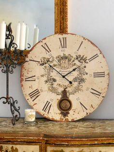 Great idea of just leaning, not hanging, this vintage yet feminine wall clock.