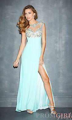 High Neck Prom Dress with Side Slit at PromGirl.com#prom#dress#promdress
