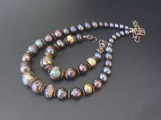 Artisan lampwork, pearls and bronze set