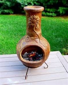 Clay Chiminea Deck Bing Images Portable Fireplace Keep Warm Shrubs
