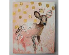 folk art Original deer painting whimsical boho by thesecrethermit