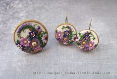 "polymerclayfimo: Флешмоб ""О себе"" - margari_to4ka - Polymer clay pendant and earrings with delicate flowers in purple"