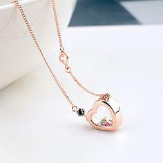 Precious Glass Heart Pendant Necklace Austrian crystal Glass Bottle Pendants Brand Jewellery Women Girl Mom New Year Gift