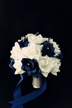 Bridal Bouquet-navy Blue White with Ribbon and Rhinestone-silk Flower