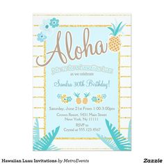 Hawaiian Luau Invitations
