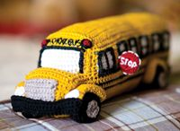 Back to School Bus Toy - from the Fall 2014 Issue of Love of Crochet magazine  Just in time for fall, this soft and huggable school bus is full of adorable details like a stop sign, fenders, bumpers, and hubcaps. With a little bit of felt and some imagination, you can even add some smiling faces to the school bus windows!