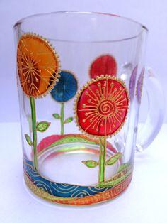 Flowers Mug. Hand painted glass mug by OrdinaryWWonders on Etsy