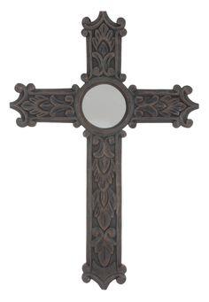 Stonebriar Wood Wall Cross with Mirror