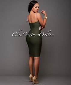 Chic Couture Online - Dauphin Olive Green Taupe Body-Con Dress.(http://www.chiccoutureonline.com/dauphin-olive-green-taupe-body-con-dress/)
