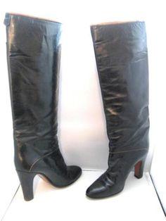 BALLY-Black-Brown-Piping-Detail-Knee-High-Heel-Women-039-s-Boots-Vintage-7N