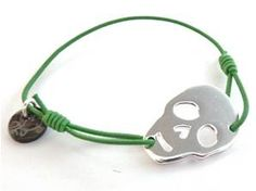Bracelet Celso - Vert - Tête de Mort Métal Argenté - So Frexo