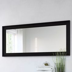 HEMNES Mirror, black-brown, 29 A classical look with molded edges. You can hang it vertically or horizontally depending on your preference and what best fits your space. Dining Room Mirror Wall, Large Bathroom Mirrors, Downstairs Bathroom, Long Mirror, Black Mirror, Ikea Hemnes Mirror, Ikea Bedroom Design, Ikea Living Room, Mirrors