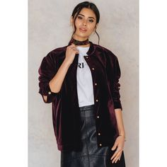 NA-KD Velvet Bomber Jacket ($71) ❤ liked on Polyvore featuring outerwear, jackets, wine red, flight jacket, style bomber jacket, red bomber jacket, blouson jacket and red jacket