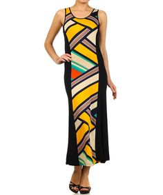 Look at this #zulilyfind! Yellow Abstract Maxi Dress by BellaBerry #zulilyfinds