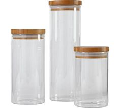 Buy Heart Of House Glass 3 Pack Storage Jars With Bamboo Lids At