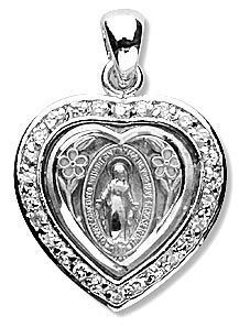 """Miraculous Heart Shaped Sterling Silver Cubic Zirconia Crystal Pendant. 5/8 inch medal gift boxed with 18"""" Rhodium Stainless Steel chain. Catholic Jewelry, Catholic Gifts, Small Heart, Stainless Steel Chain, Our Lady, Crystal Pendant, Miraculous, Heart Shapes, Pendant Necklace"""