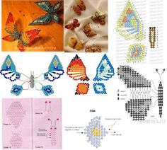 Beaded butterflies of different colors and sizes. Beading Patterns Free, Seed Bead Patterns, Beaded Jewelry Patterns, Seed Bead Crafts, Seed Bead Jewelry, Beading Projects, Beading Tutorials, Beaded Spiders, Do It Yourself Jewelry