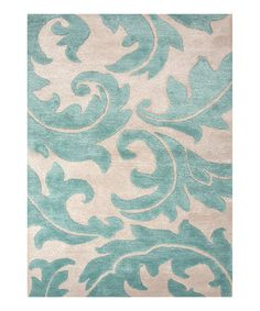 Take a look at this Blue Floral Wool-Blend Rug by Jaipur Rugs on #zulily today!