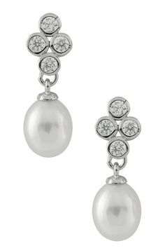 7-8mm White Freshwater Pearl & Bezel CZ Quad Cluster Earrings on HauteLook