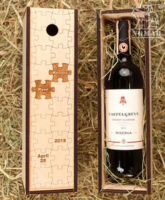 Personalized Wine Box Custom Puzzles Wood Wine Box by NomadGift