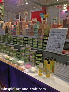 Get inspiration for creating your own soap displays with these soap booth pictures. | @saffireblue
