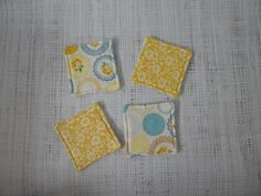 Coasters set of 4 Cottage Chic yellow roses and by LiveLaughSew, $6.00