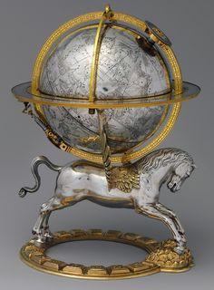 Celestial Globe With Clockwork -- 1579 -- Gerhard Emmoser -- Austrian, Vienna -- Case: silver, partly gilded, & gilt brass; Movement: brass & steel -- Metropolitan Museum of Art Celestial Sphere, Empire Romain, Map Globe, World Globes, Old Maps, Antique Maps, Objet D'art, Metropolitan Museum, Oeuvre D'art