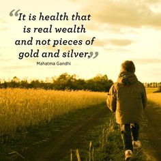 """Quotes That Will Inspire You to Be Healthier """"It is health that is real wealth and not pieces of gold and silver."""" —Mahatma Gandhi""""It is health that is real wealth and not pieces of gold and silver. Health Is Wealth Quotes, Health Quotes, Health And Nutrition, Health And Wellness, Health Fitness, Mantra, Smoothies, Yoga Video, Fitness Motivation"""
