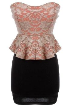 Jacquard Peplum Dress: Features a charming sweetheart neckline crowning a vintage coral bodice with contrast rose and vine design, flared peplum waist for a dramatic silhouette, and a beautiful form-fitting skirt to finish.