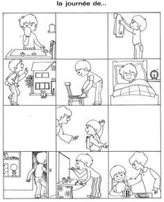 """Images séquentielles """"Une journée d'école"""" (9 images)"""