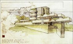Perspective rendering - Ayn Rand / Never built / 1946 / Frank Lloyd Wright Frank Lloyd Wright, Water Drawing, Drawing Drawing, Drawing Board, Organic Architecture, Historic Architecture, House Architecture, Residential Architecture, Interior Sketch