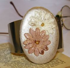 Champagne Colored Floral Artwork Shell Chunky Cuff by ArtLery, $20.00
