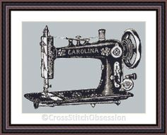"""Hello everyone, we have a lovely cross stitch pattern for you today.  """"SEWING MACHINE CAROLINA"""". Visit Here:  http://etsy.me/1Pz9XNe Vintage looking yet very modern and elegant, perfect for any room, especially sewing/hobby rooms. This pattern is so easy to stitch, it has only 6 colours in it! Designed on ice blue aida, no background to be stitched. No backstitch or other special stitches, cross stitch only. Original Design Size: 11,25 x 8,38 inches or 28,58 x 21,29 cm.  Stitches:.."""