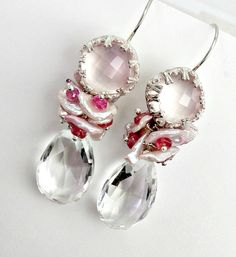 Pink Statement Earring Rose Quartz Bezel Pink by DoolittleJewelry, $195.00