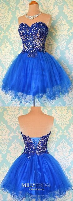 Short Homecoming Dresses,Royal Blue Evening Party Gowns,Organza Ball Gowns for Prom, Cute Lace-up Beading Prom Dresses Royal Blue Homecoming Dresses, Vintage Homecoming Dresses, Cheap Formal Dresses, Cute Homecoming Dresses, Casual Dresses For Teens, Royal Blue Dresses, Trendy Dresses, Short Dresses, Party Dresses