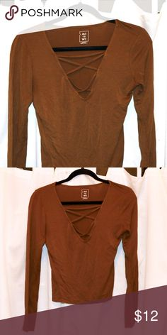 "d387bb35767 Orange Long sleeve Shirt With Crisscross V-neck -Model 5 5"" Tops"