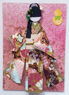 ACEO 38 - Sora (SOLD). ACEO with handmade Japanese paper doll.