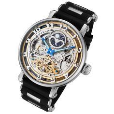 #skeletonwatchshop #skeletonwatches   Rougois Automatic Skeleton Moonphase Dual Time Watch - Silicone Band